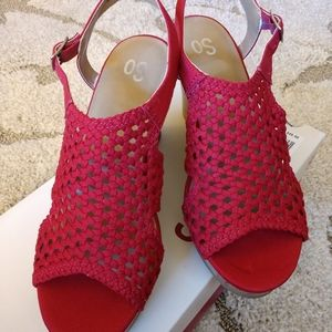 SO Women's Wedge Sandals, Size 9.5, Red